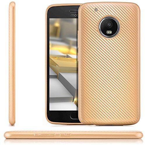 Preisvergleich Produktbild zanasta® Lenovo Moto G5 Plus Hülle,  Premium Schutzhülle Soft Flex Silikon Carbon Case TPU Slim Cover Handyhülle / Metallic Gold