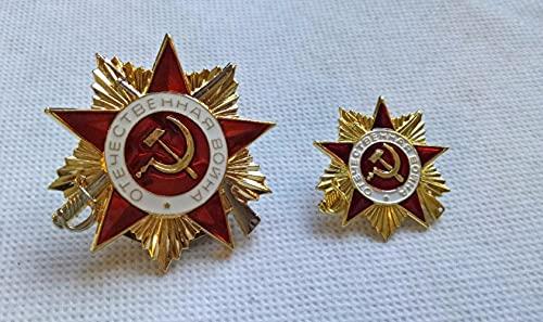 liangsen Placa de Oro 2 uds, Tamaño Grande y pequeño, Ruso, alemán, Segunda Guerra Mundial, Medalla de Estrella roja soviética, Chapado en Oro