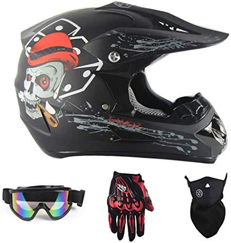 ESASAM Mopedhelm Motocross Helm Downhill Fullface Helm Schutzhelm Full Face MX Helmet Cross Helme Sturzhelm mit Handschuhe Maske Brille (Schädel, L)