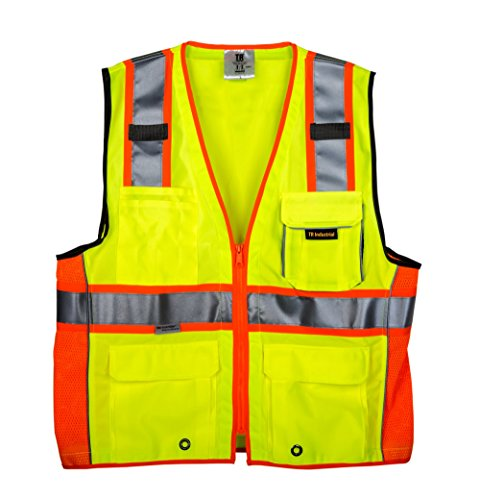 TR Industrial 3M Safety Vest with Pockets and Zipper, Class 2, Size M