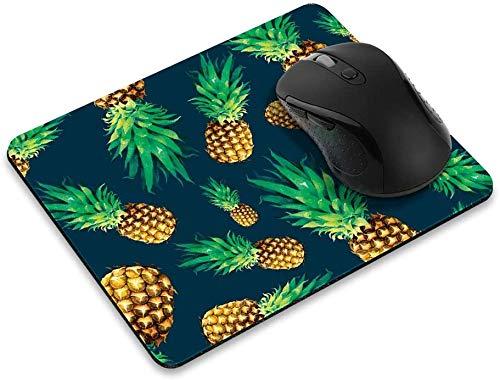 Rutschfestes Rechteck-Mousepad, Fliegen-Ananas-Muster Dunkelblaues Mauspad für Heim, Büro und Spieltisch