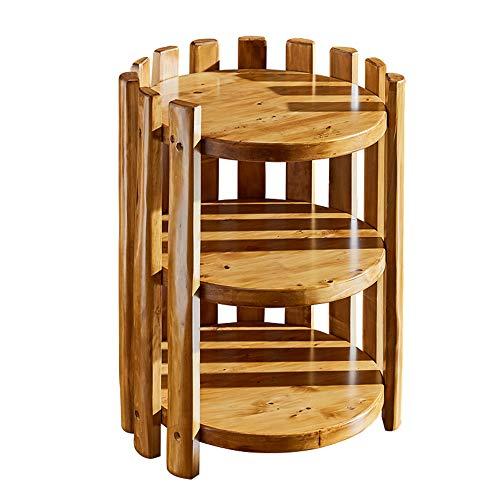 YINUO Connectez-vous Antique Flower Shelf Multi-couche en bois Salon Charnue Balcon Rack Au sol Intérieur En Bois Massif Téléphone Rack couleur de bois Taille: 46x59cm