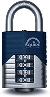 SQUIRE Vulcan Combination Padlock. Patented Design Boron Steel Shackle Recodable Padlock, 4 and 5 Wheels configurations. (4 Wheel - 40 mm)