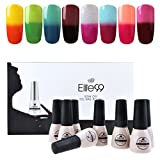 Elite99 Temperature Color Changing Gel Nail Polish Kit 8 Colors, Soak Off UV LED Nail Polish Set Nail Art C043