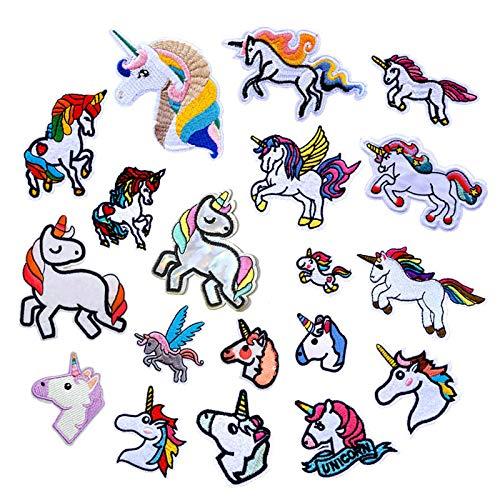geneic 20 parches para planchar con diseño de unicornio para niños, para coser camisetas, vaqueros, ropa, bolsos, parches, etc.
