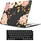 iLeadon MacBook Air 13 Inch Case 2020 2019 2018 Release A2337 M1 A2179 A1932, Plastic Hard Shell Case for Apple Newest MacBook Air 13 Inch with Retina Display fits Touch ID, Floral Black Base