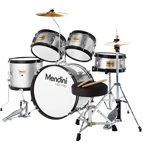 5 unidades 16 pulgadas Mendini por Cecilio junior batería set + platillos, baquetas y ajustable silla., Negro