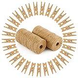 Vegena 200m Hilo Natural Yute Cordel de Cáñamo Cuerda de Bricolaje con 200pcs Mini Pinzas de Madera Natural para Manualidades DIY Decoración, Etiqueta, Regalo, Oficina, Proyectos de Jardinería