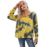 Moda Sudaderas Jersey Sweater Tie Dye Hoodies Mujeres Sudadera con Capucha De Manga Larga Sudaderas Mujer Streetwear Vintage Sweatshirt XL Yellow