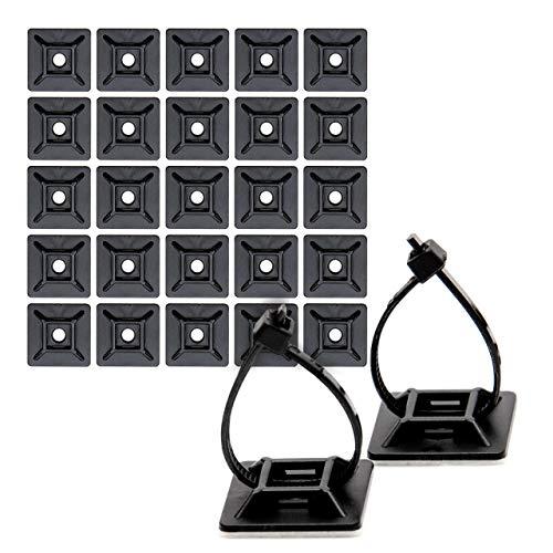 Flexowire 50 Stk. hochwertige Kabel Sockel, Klebe Halterung, Kabel Organizer für Schreibtisch, Schaltschrank (19 x 19 mm)