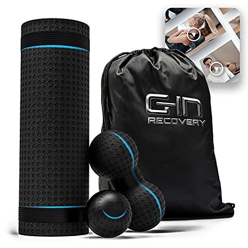 G-IN Faszienrolle ALL-IN-ONE Faszien Set mit Massagekugel und Duoball [optimaler Härtegrad] - INKL. Online Training mit Tim Gabel - Rückenrolle für Rücken Wirbelsäule Nacken Beine