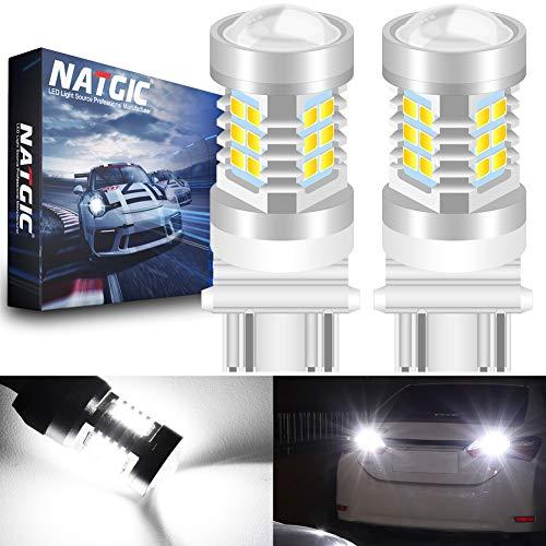 NATGIC 3157 3157CK 4157 3156 Ampoules à LED Blanc xénon 21 -EX 2835 SMD avec projecteur pour Objectif pour Feux de recul de Queue de Frein, 10-16V 10,5W (Pack de 2)