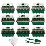 Fuuner Bandejas Semilleros de Germinacion de Plastico 12 Células Plántulas,Semillero Bandeja Invernadero Interio con Agujero para Plantas en Crecimiento