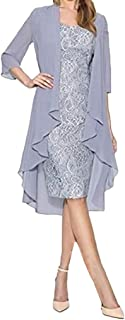 Dress for Women Simple Fashion Above Knee Two Piece Evening Party Formal Work Chiffon Cardigan Lace Dresses