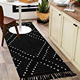 Boho Laundry Room Rug 2 x 4.3',Woven Cotton Washable Runner Rug with...