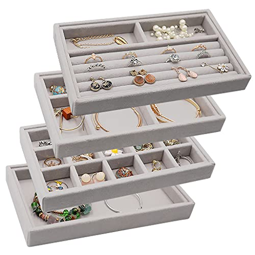 Velvet Jewelry Drawer Inserts Trays, Earring Organizer Stackable Jewelry Display Trays, Box Ring Holder Necklace Case, Storage for Bracelet Brooch Watch, Set of 4 (Gray)