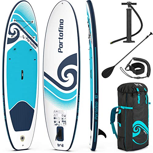 trail outdoor leisure Portofino Inflatable Paddle Board, 10ft x 33' x 4.75', All Round SUP, Complete Beginners Set With Backpack, Oar, Pump, Pressure Gauge, Leash, Fin