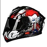 HJL Material ABS Casco aerodinámico Diseño Casco de Motocicleta Casco de Hombre Casco de Cara Completa Casco Four Seasons (Color : Red, Tamaño : L)