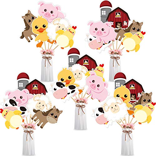 Blulu 28 Pieces Farm Animal Centerpiece Cards and Sticks for Farm Theme Party  Table Toppers Farm Animal Birthday Party Decoration Baby Shower Birthday Party Supplies(Farm Animal)