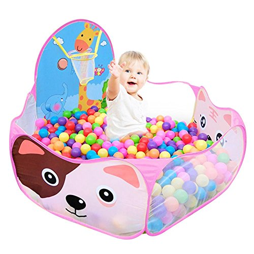 Everpert Kinder Bällebad Pop Up Zelt Kinderspielzelt Baby Spielhaus Outdoor mit Mini Basketballkorb (Pink)