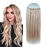 Creamily Halo Human Hair Extensions 16inch 80g Ash Blonde Highlighted with Bleached Blonde No Glue Wire Pieces Adjustable Fish Line With Clips 100% Remy Human Hair
