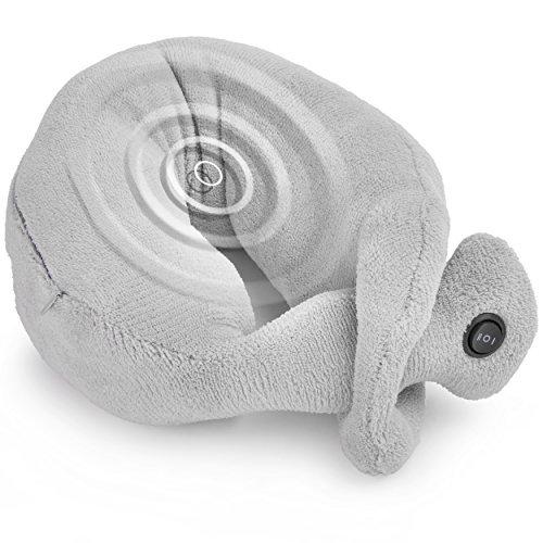 2in1 Reisekissen Nacken Massagegerät - Flugzeug Relax Cushion Nackenmassagekissen mit 2 Vibrationsstufen - Erholung und Entspannung langer Reise, Auto und Bus Fahrt Maße: ca. 85x11cm, Grau, Microfaser