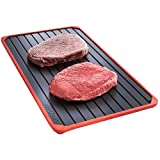 VonShef Defrosting Tray with Red Silicone Border...