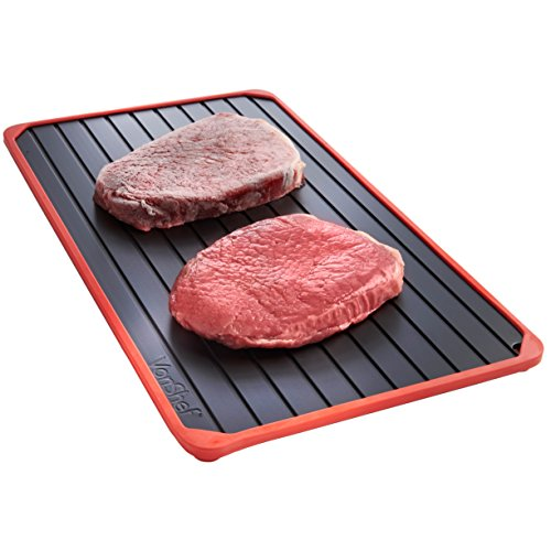 VonShef Defrosting Tray with Red Silicone Border Thaws Frozen Food Faster, Defrost Meat, Vegetables Quicker, No Electricity, No Chemicals, No Microwave