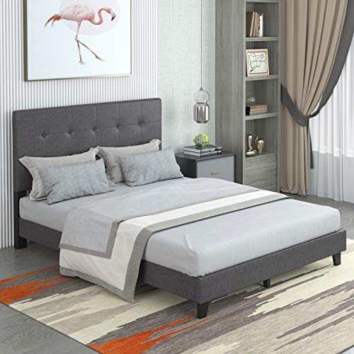 Gynsseh Upholstered Bed Frame, Upgraded Wood Platform Bed Frame Mattress Foundation with Enhanced Wooden Slat Support and Tufted Headboard, No Box Spring Needed (Gray, Queen)