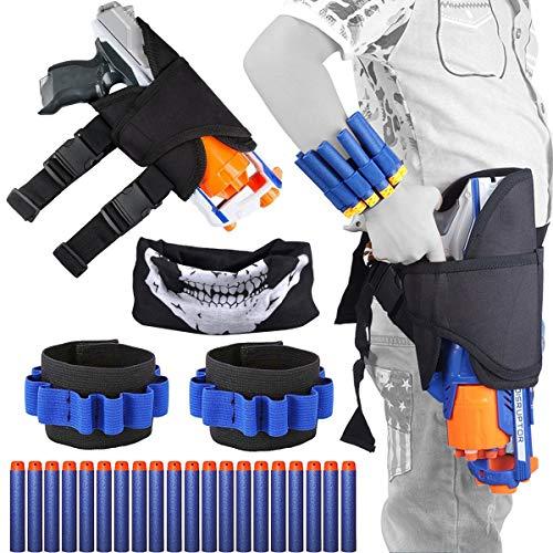 OuMuaMua Kids Tactical Waist Bag Holster Kit, for Gun N-Strike Elite Series Blaster 24 Pieces, Include Holster Waist Bag, 2 Wrist Bands, 20 Refill Darts & 1 Skull Face Mask