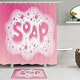 SUDISSKM de alfombras de baño con Cortinas de Ducha Alfombrillas de baño Antideslizantes Impermeables Conjuntos,Espuma con The Word Soap RGB Global Colors