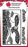 Woodware Clear Stamp Set Cut-Hunting Owl Jane Gill - Juego de sellos mágicos transparentes, corte lino, búho de caza, 4 x 6 inches