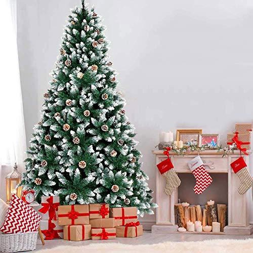 WeyTy Künstliche Weihnachtsbäume, 220cm Tannenbaum mit 54 Tannenzapfen und 1200 Zweige Schneebedeckten Spitzen, Weihnachtsbaum künstlicher für Weihnachtsdekoration