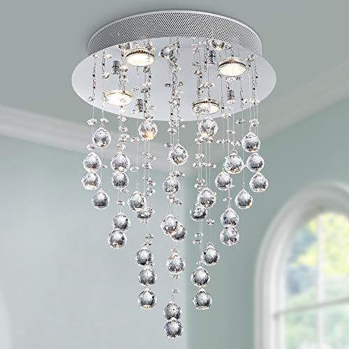 Bestier Moderne Kristall Regentropfen Kronleuchter Beleuchtung Unterputz LED Deckenleuchte Leuchte Pendelleuchte für Esszimmer Badezimmer 4 GU10 LED Birnen Erforderlicher Durchmesser 35 cm Höhe 50 cm