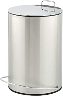mDesign Pedal Bin - Metal Waste Bin with Pedal and Lid - Perfect for Bathroom, Kitchen, and Office - 5 Litre Household Rubbish Bin with Ergonomic Design - Chrome/Brushed Silver