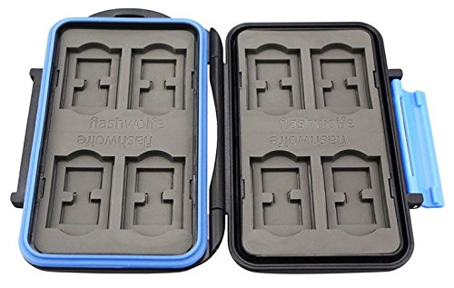 flashwoife Turtle-SD8 Caja de protección de Tarjeta de Memoria Impermeable, Soporte Patentado, Estuche para 8 Tarjetas SDHC, Negro