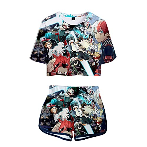 WWZY Anime My Hero Academia Camiseta Y Pantalones Cortos Trajes de Impresión 3D Midoriya Izuku y Bakugou Katsuki Manga Corta Top Shorts Sexy Ombligo Conjuntos Anime Cosplay Disfraz Mujer,Negro,XL