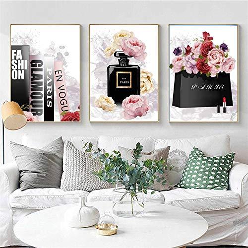 Terilizi Boek parfum bloem Parijs merk Nordic poster en afdrukken muurkunst canvas schilderij decoratie schilderijen voor de woonkamer decor 50X70Cmx3 geen lijst