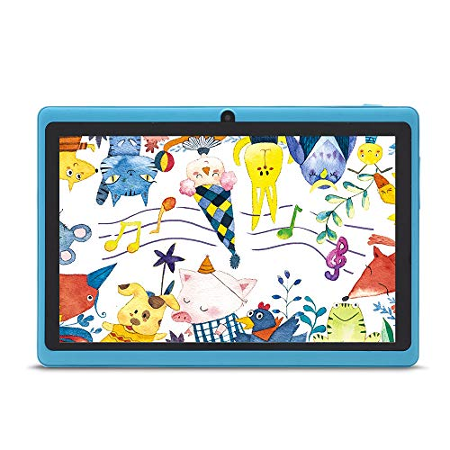 Haehne 7 Pollici Tablet PC, Google Android 4.4, Quad Core A33, Doppia Fotocamera, WiFi, Bluetooth, Per Bambini e Adulti, Blu Cielo