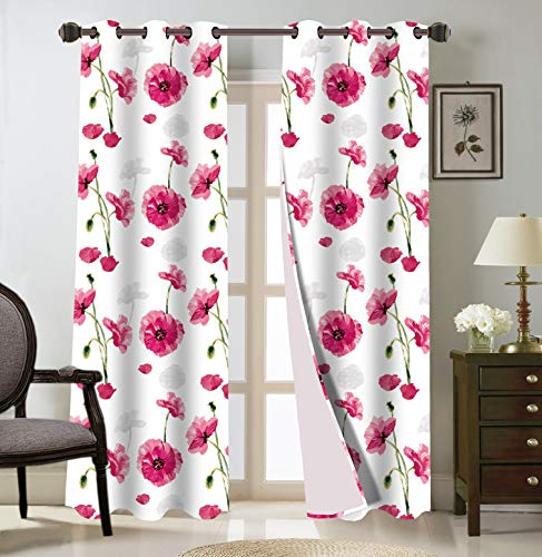 """LinenTopia 2PC Grommet Curtain Panels 37""""Wx784""""L,Decorative Floral Design Print,Light Filtering Room Darkening Thermal Foam Back Lined Curtain Panels at living/bedroom room/patio door Madi,84,Hot Pink"""