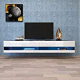 Floating TV Stand LED Effects Wall Mounted Entertainment Center Living Room Console Table Large Storage Cabinet (White A)