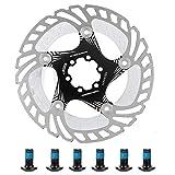 VGEBY1 Disco de Freno de Bicicleta, Almohadilla de Disco de Freno de Acero de Bicicleta Flotante de Bicicleta de montaña de 180 mm con 6 Pernos(Negro)
