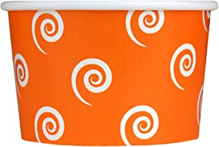 50 Count Orange Paper Ice Cream Cups - 4 oz Swirls And Twirls Dessert Bowls - Comes In Many Colors & Sizes! Frozen Dessert Supplies