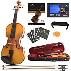 4/4 (Full Size) violin, hand-carved solid wood spruce top, Hand-carved solid wood maple back & sides Beautiful inlaid purfling & varnish finish, Ebony fingerboard, chin rest and pegs, alloy tailpiece with four integrated fine tuners Includes: Cecilio...