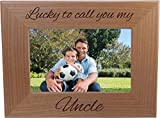 Lucky To Call You My Uncle - Natural Alder Hanging/Tabletop Engraved Wooden Wood Picture Photo Frame (4x6-inch Horizontal)