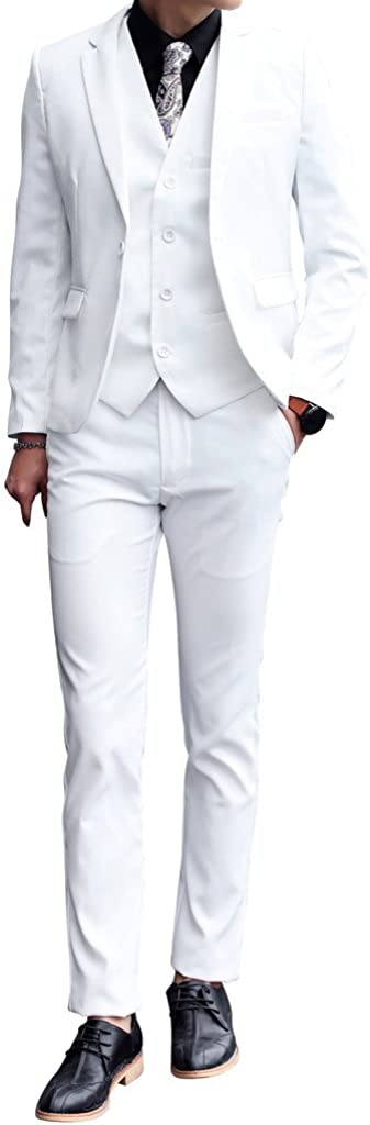 MOGU Mens 3 Piece Dress Set White New product! New type Suit Max 85% OFF