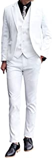 Mens 3 Piece White Dress Suit Set