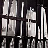 Set de cuchillos de cocina y Funda Rollo Organizador | Macheta, cocinero, fileteador, jamonero, pelador, trinchador, sierra, chaira Acero inoxidable Holstein
