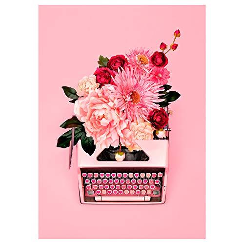 PJÄTTERYD bild 50 x 70 cm rosa skrivmaskin