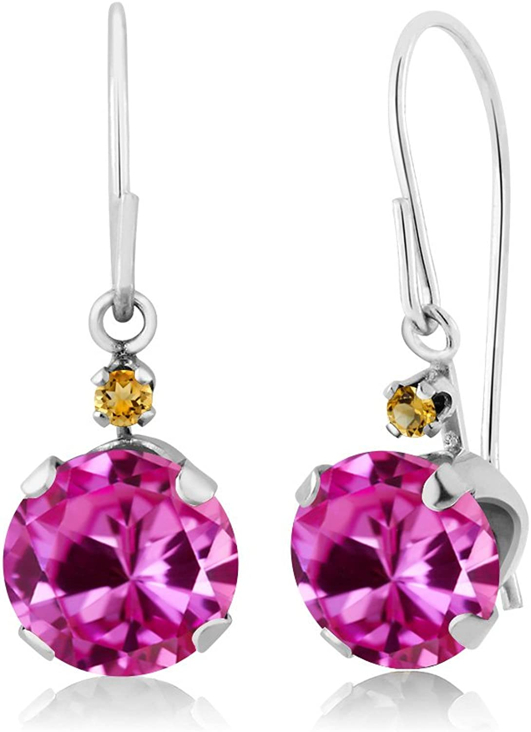 2.04 Ct Round Pink Created Sapphire Simulated Citrine 14K White gold Earrings